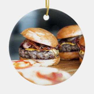 Ornement Rond En Céramique Hamburgers