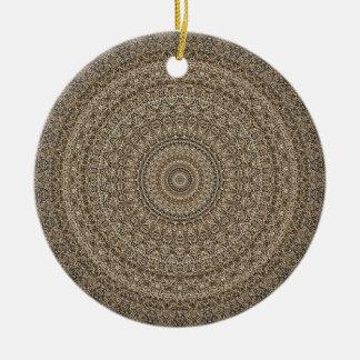 Ornement Rond En Céramique HAMbyWG - mandala dans bronzage