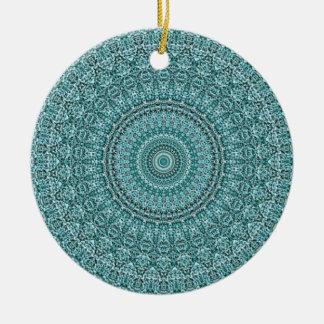 Ornement Rond En Céramique HAMbyWG - mandala en turquoise