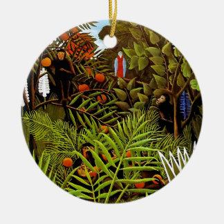 Ornement Rond En Céramique Henri Rousseau - art exotique de jungle de paysage