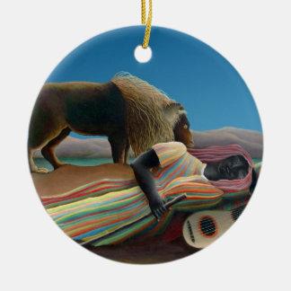 Ornement Rond En Céramique Henri Rousseau - le gitan de sommeil