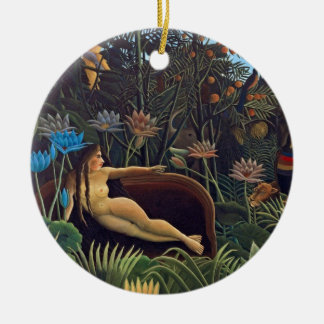 Ornement Rond En Céramique Henri Rousseau le rêve - animaux de la femme W de
