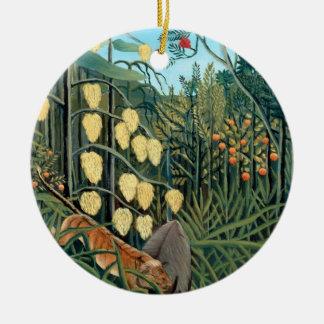 Ornement Rond En Céramique Henri Rousseau - tigre et Buffalo de lutte