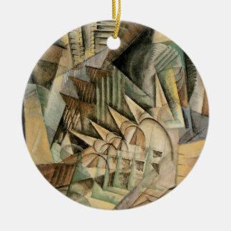 Ornement Rond En Céramique Heure de pointe, New York par Max Weber, cubisme