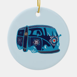 Ornement Rond En Céramique Hippie Van Ornament