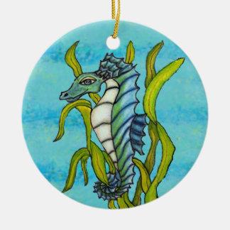 Ornement Rond En Céramique Hippocampe bleu de dragon de mer d'Aqua