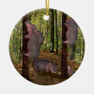 Ornement Rond En Céramique Hippopotames drôles de Koala-Aspirant