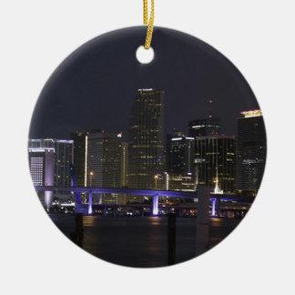 Ornement Rond En Céramique Horizon de nuit de Miami