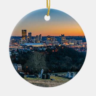 Ornement Rond En Céramique Horizon de Pittsburgh au coucher du soleil