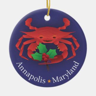 Ornement Rond En Céramique Horizon et crabe d'Annapolis le Maryland avec le