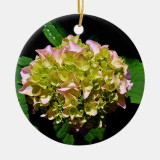 Ornement Rond En Céramique Hortensia vert et rose