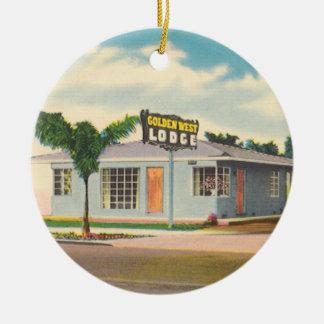Ornement Rond En Céramique Hôtel vintage, motel occidental d'or de loge