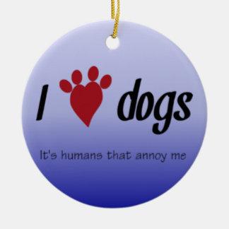 Ornement Rond En Céramique I chiens de coeur