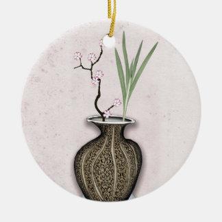 Ornement Rond En Céramique Ikebana 2 par les fernandes élégants