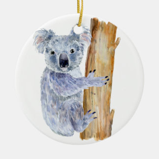 Ornement Rond En Céramique Illustration de koala d'aquarelle