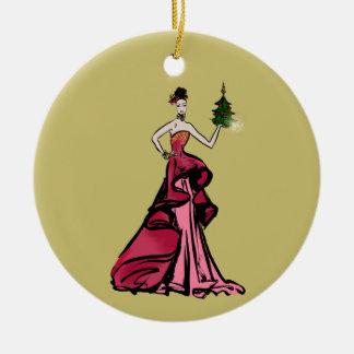 Ornement Rond En Céramique Illustration de mode de Noël avec l'arbre