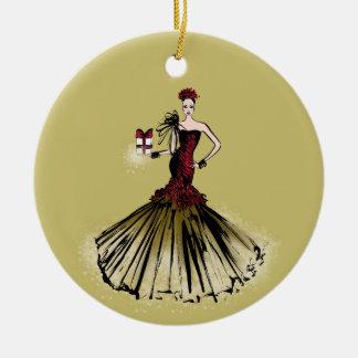 Ornement Rond En Céramique Illustration de mode de Noël avec le colis