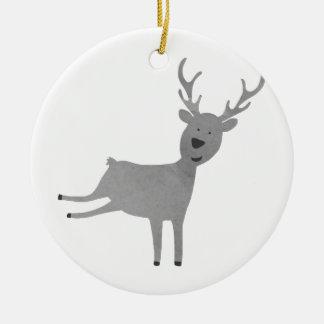 Ornement Rond En Céramique Illustration grise de renne