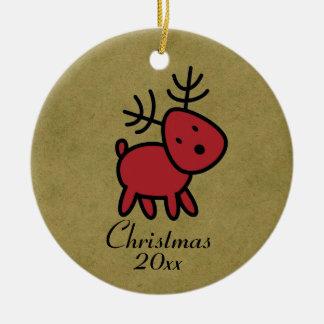 Ornement Rond En Céramique Illustration rouge de renne de Noël