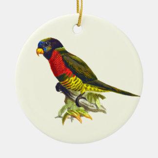 Ornement Rond En Céramique Illustration vintage colorée de perroquet