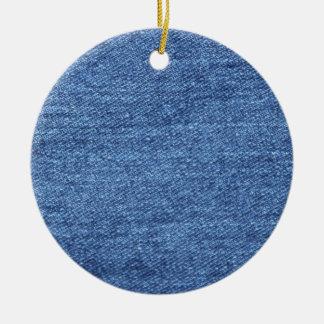 Ornement Rond En Céramique Image blanche bleue de regard de texture de denim