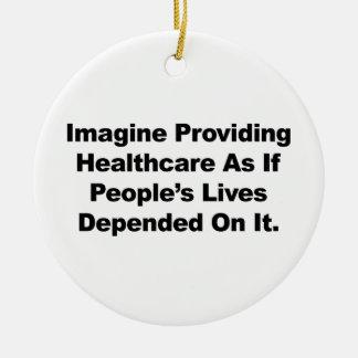 Ornement Rond En Céramique Imaginez les vies des personnes de soins de santé