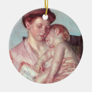 Ornement Rond En Céramique Impressionisme vintage, bébé somnolent par Mary