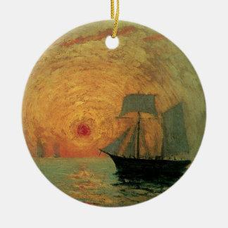 Ornement Rond En Céramique Impressionisme vintage, Sun rouge par Maxime