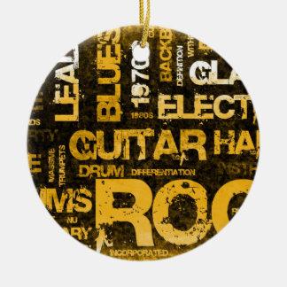 Ornement Rond En Céramique Invitation de partie de musique rock comme art