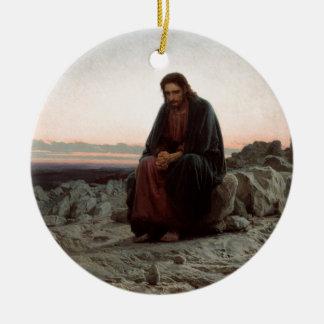 Ornement Rond En Céramique Ivan Kramskoy- le Christ dans la région sauvage -
