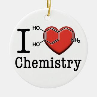 Ornement Rond En Céramique J'aime la chimie