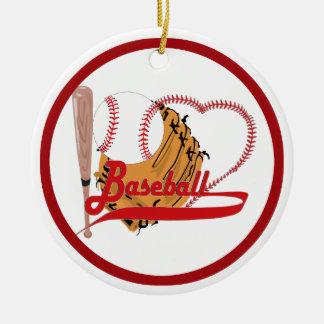 Ornement Rond En Céramique J'aime le base-ball - boule, batte, gant de