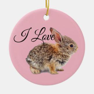 Ornement Rond En Céramique J'aime le lapin de lapins