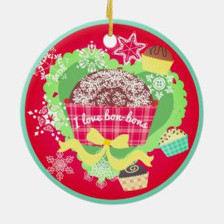 Ornement Rond En Céramique J'aime l'ornement de Noël de chocolats de fèves de