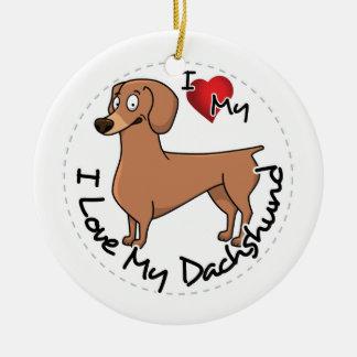 Ornement Rond En Céramique J'aime mon chien de basset allemand