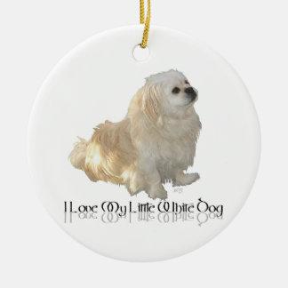 Ornement Rond En Céramique J'aime mon petit chien blanc - Pekingese !