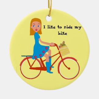 Ornement Rond En Céramique J'aime monter mon vélo