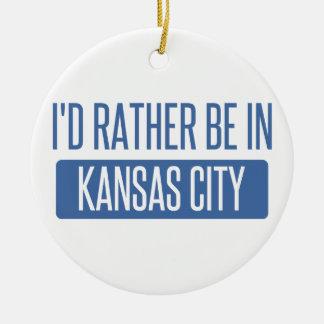 Ornement Rond En Céramique Je serais plutôt à Kansas City MOIS