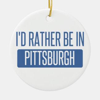 Ornement Rond En Céramique Je serais plutôt à Pittsburgh