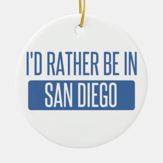 Ornement Rond En Céramique Je serais plutôt à San Diego