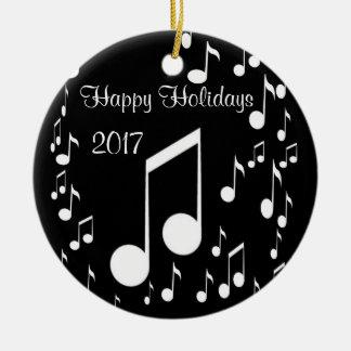 Ornement Rond En Céramique Je suis la musique, bonnes fêtes 2017_
