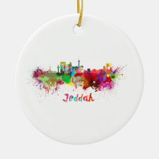 Ornement Rond En Céramique Jeddah skyline in watercolor