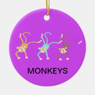 Ornement Rond En Céramique Jeu de trois singes