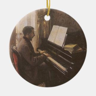 Ornement Rond En Céramique Jeune homme jouant le piano par Gustave