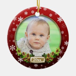 Ornement Rond En Céramique Jolie vue (rouge) de photo de Noël