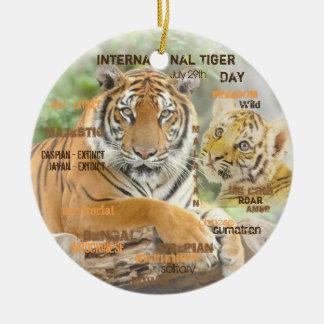 Ornement Rond En Céramique Jour international de tigre, le 29 juillet, art de