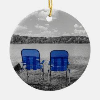 Ornement Rond En Céramique Jour parfait à la gamme de gris de lac