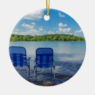 Ornement Rond En Céramique Jour parfait au lac