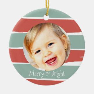 Ornement Rond En Céramique Joyeux et lumineux Noël fait sur commande de photo