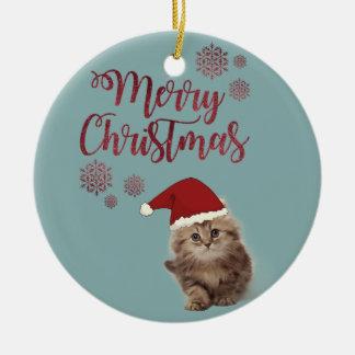 Ornement Rond En Céramique Joyeux Noël, chat avec le casquette de Père Noël
